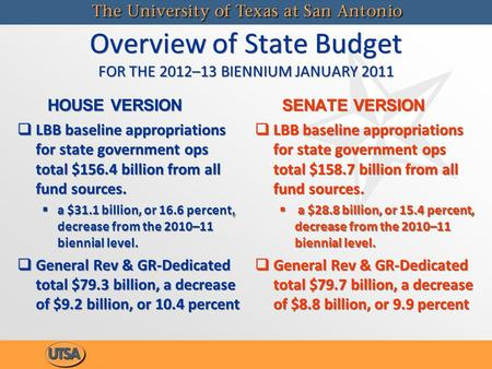 Overview of State Budget FOR THE 2012–13 BIENNIUM JANUARY 2011 HOUSE VERSION   LBB baseline appropriations for state government ops total $156.4 billion.