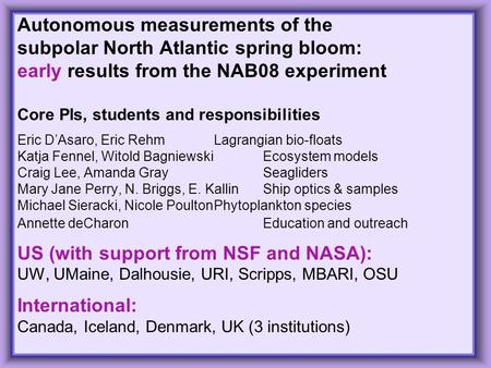 1 Autonomous measurements of the subpolar North Atlantic spring bloom: early results from the NAB08 experiment Core PIs, students and responsibilities.