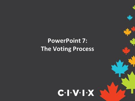 PowerPoint 7: The Voting Process. Opening Discussion Have you ever voted for something before? How was the winner decided? Did you think the process was.