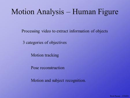 Rick Parent - CIS681 Motion Analysis – Human Figure Processing video to extract information of objects Motion tracking Pose reconstruction Motion and subject.