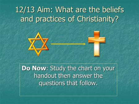 12/13 Aim: What are the beliefs and practices of Christianity? Do Now: Study the chart on your handout then answer the questions that follow.