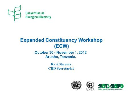 Expanded Constituency Workshop (ECW) October 30 - November 1, 2012 Arusha, Tanzania. Ravi Sharma CBD Secretariat.