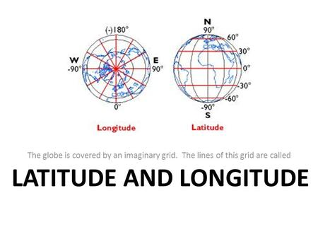 LATITUDE AND LONGITUDE The globe is covered by an imaginary grid. The lines of this grid are called.