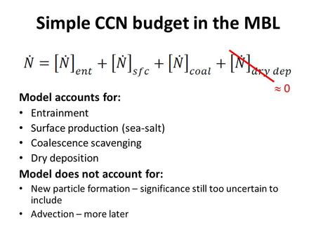 Simple CCN budget in the MBL Model accounts for: Entrainment Surface production (sea-salt) Coalescence scavenging Dry deposition Model does not account.
