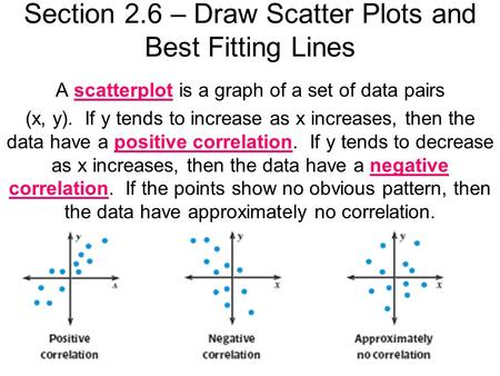 Section 2.6 – Draw Scatter Plots and Best Fitting Lines A scatterplot is a graph of a set of data pairs (x, y). If y tends to increase as x increases,