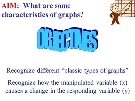 "Recognize different ""classic types of graphs"" Recognize how the manipulated variable (x) causes a change in the responding variable (y) AIM: What are."