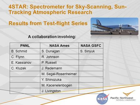 4STAR: Spectrometer for Sky-Scanning, Sun- Tracking <strong>Atmospheric</strong> Research Results from Test-flight Series PNNLNASA AmesNASA GSFC B. SchmidS. DunaganS. Sinyuk.