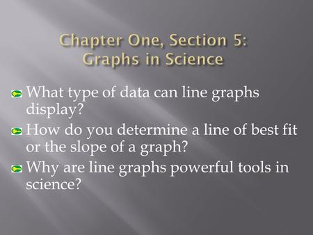 What type of data can line graphs display? How do you determine a line of best fit or the slope of a graph? Why are line graphs powerful tools in science?