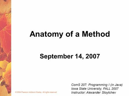 © 2004 Pearson Addison-Wesley. All rights reserved September 14, 2007 Anatomy of a Method ComS 207: Programming I (in Java) Iowa State University, FALL.