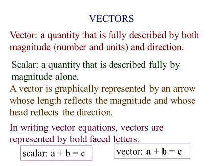 VECTORS Vector: a quantity that is fully described by both magnitude (number and units) and direction. Scalar: a quantity that is described fully by magnitude.