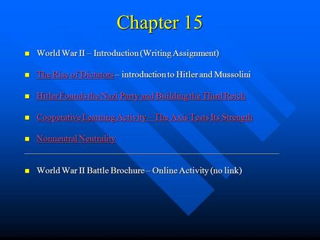 Chapter 15 World War II – Introduction (Writing Assignment) World War II – Introduction (Writing Assignment) The Rise of Dictators – introduction to Hitler.
