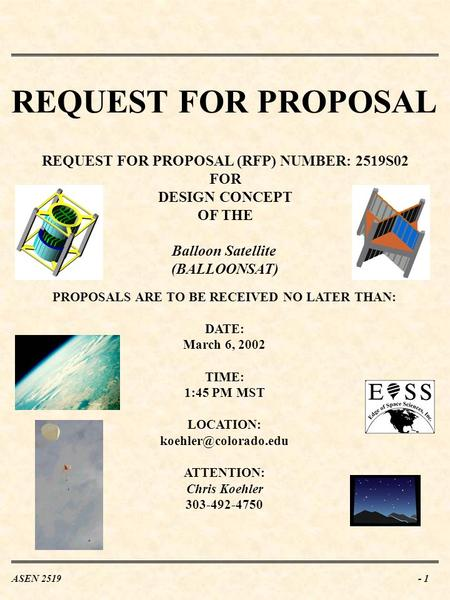 REQUEST FOR PROPOSAL REQUEST FOR PROPOSAL (RFP) NUMBER: 2519S02 FOR