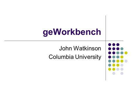 GeWorkbench John Watkinson Columbia University. geWorkbench The bioinformatics platform of the National Center for the Multi-scale Analysis of Genomic.