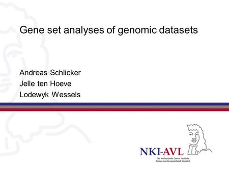 Gene set analyses of genomic datasets Andreas Schlicker Jelle ten Hoeve Lodewyk Wessels.