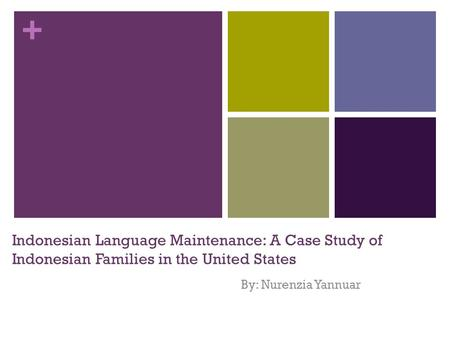 + Indonesian Language Maintenance: A Case Study of Indonesian Families in the United States By: Nurenzia Yannuar.