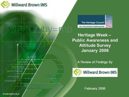 Heritage Week – Public Awareness and Attitude Survey January 2006 A Review of Findings By February 2006 41105152/CF/LD.