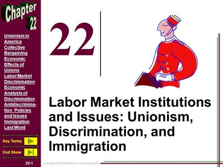 Copyright 2008 The McGraw-Hill Companies 22-1 Unionism in America Collective Bargaining Economic Effects of Unions Labor Market Discrimination Economic.