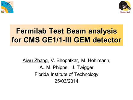 Fermilab Test Beam analysis for CMS GE1/1-III GEM detector Aiwu Zhang, V. Bhopatkar, M. Hohlmann, A.M. Phipps, J. Twigger Florida Institute of Technology.