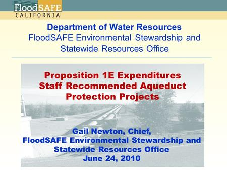Department of Water Resources FloodSAFE Environmental Stewardship and Statewide Resources Office Gail Newton, Chief, FloodSAFE Environmental Stewardship.