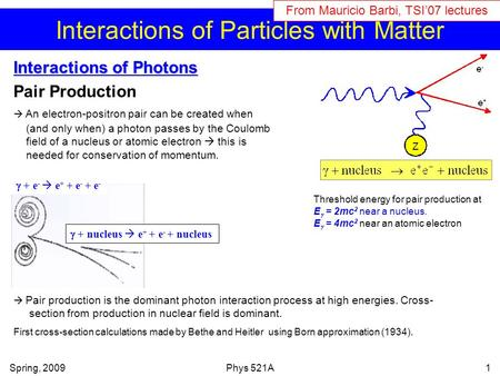 Interactions of Particles with Matter