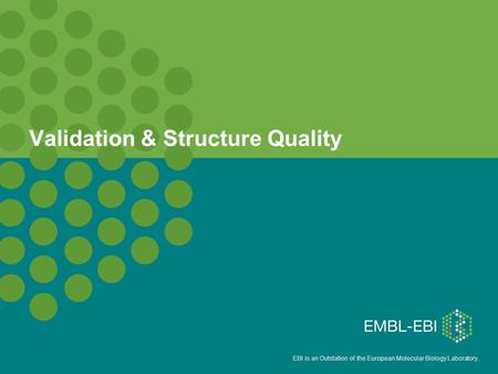 EBI is an Outstation of the European Molecular Biology Laboratory. Validation & Structure Quality.
