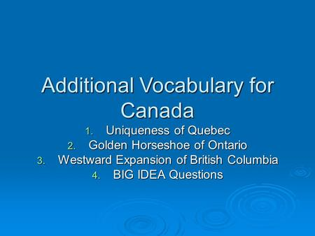 Additional Vocabulary for Canada