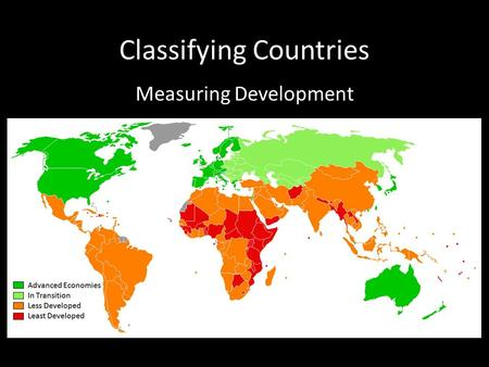 Classifying Countries Measuring Development. Grouping Countries Measuring the degree to which a country actively participates in the globalized world.
