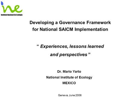 "Developing a Governance Framework for National SAICM Implementation "" Experiences, lessons learned and perspectives "" Dr. Mario Yarto National Institute."