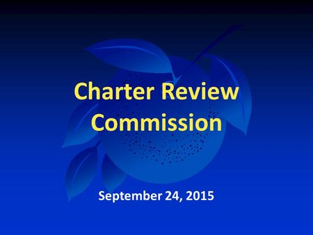 Charter Review Commission September 24, 2015. County Transportation Needs.