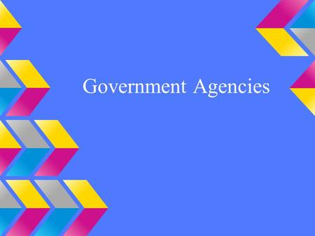 Government Agencies. What are government agencies? Governments agencies are permanent or semi-permanent organizations responsible for the oversight and.