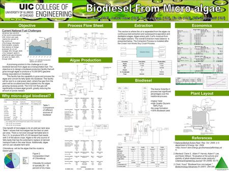 Objective Why micro-algal biodiesel? Process Flow SheetExtraction Biodiesel Economics References Algae Production This section is where the oil is separated.