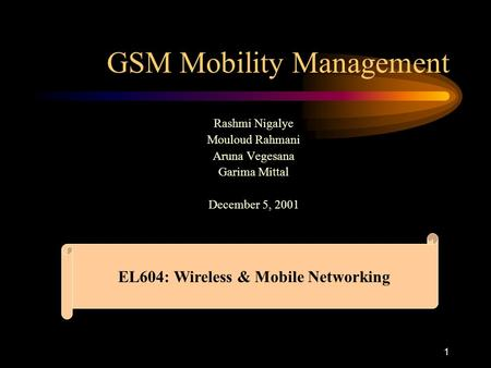 GSM Mobility Management