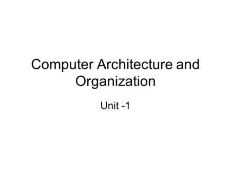 Computer Architecture and Organization Unit -1. Digital Logic Circuits – Logic Gates – Boolean Algebra – Map Simplification – Combinational Circuits –