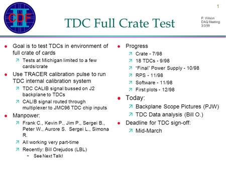 1 P. Wilson DAQ Meeting 3/3/99 TDC Full Crate Test l Goal is to test TDCs in environment of full crate of cards äTests at Michigan limited to a few cards/crate.