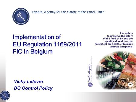 Implementation of EU Regulation 1169/2011 FIC in Belgium Vicky Lefevre DG Control Policy Federal Agency for the Safety of the Food Chain.