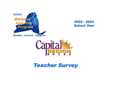 .. CRB Distance Learning Project Teacher Survey 2002 – 2003 School Year BOCES Distance Learning Program Quality Access Support.
