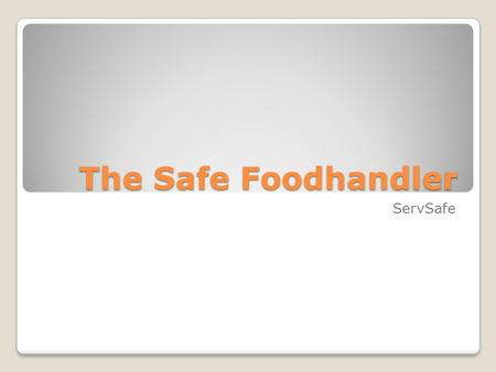 The Safe Foodhandler ServSafe. Situations that Lead to Contaminating Food Have a foodborne illness Have wounds that contain a pathogen Contact with person.