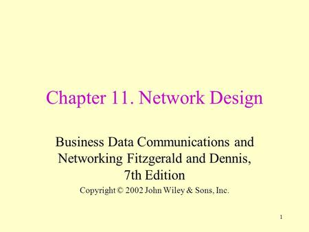 Chapter 11. Network Design