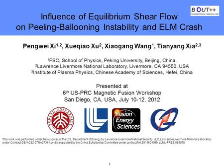 1 Lawrence Livermore National Laboratory Influence of Equilibrium Shear Flow on Peeling-Ballooning Instability and ELM Crash Pengwei Xi 1,2, Xueqiao Xu.