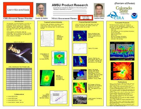 AMSU Product Research Cooperative Institute for Research in the Atmosphere Research Benefits to NOAA: __________________ __________________________________________.