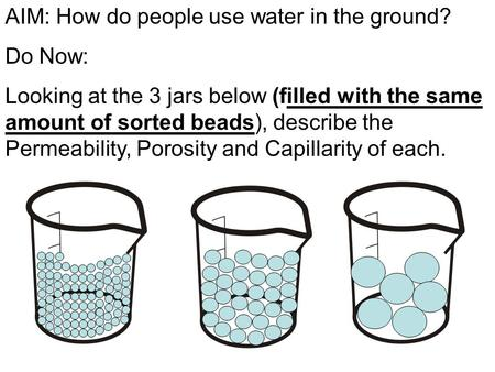 AIM: How do people use water in the ground? Do Now: Looking at the 3 jars below (filled with the same amount of sorted beads), describe the Permeability,