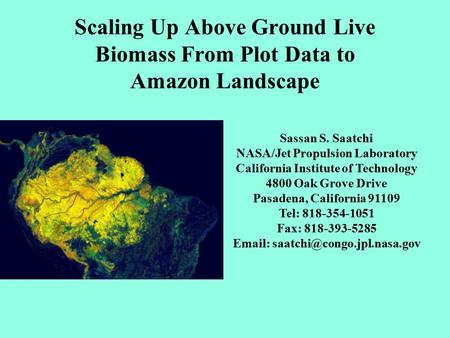 Scaling Up Above Ground Live Biomass From Plot Data to Amazon Landscape Sassan S. Saatchi NASA/Jet Propulsion Laboratory California Institute of Technology.