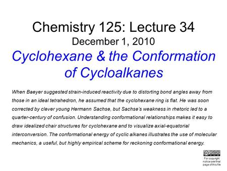 Chemistry 125: Lecture 34 December 1, 2010