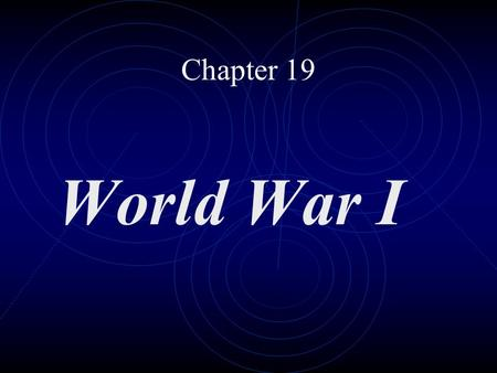 Chapter 19 World War I. Causes of war Nationalism Imperialism Militarism Alliance System.