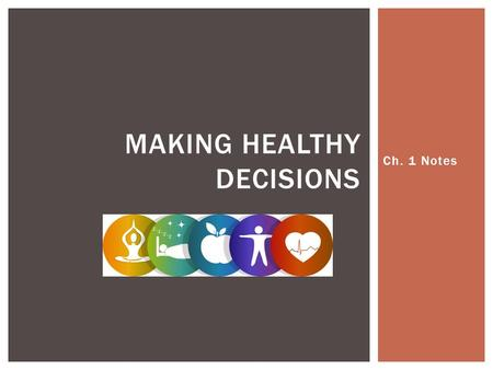 Ch. 1 Notes MAKING HEALTHY DECISIONS.  Health- The overall well- being of your body, your mind, and your relationship with other people.  Two factors.