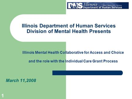 1 Illinois Department of Human Services Division of Mental Health Presents March 11,2008 Illinois Mental Health Collaborative for Access and Choice and.