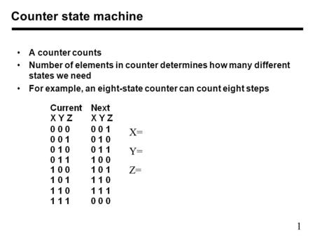 1 A counter counts Number of elements in counter determines how many different states we need For example, an eight-state counter can count eight steps.