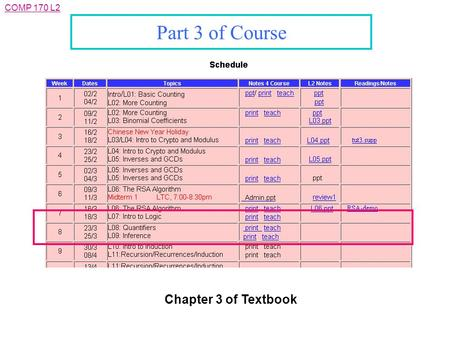 COMP 170 L2 Part 3 of Course Chapter 3 of Textbook.
