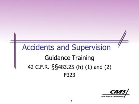 1 Accidents and Supervision Guidance Training 42 C.F.R. §§ 483.25 (h) (1) and (2) F323.