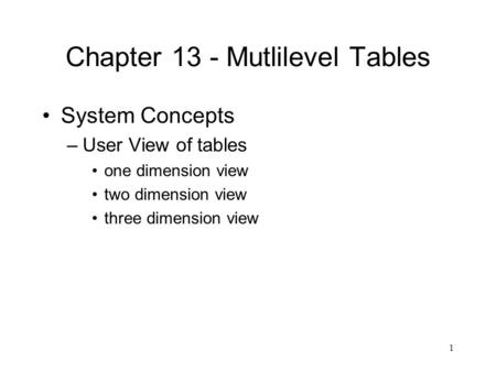 1 Chapter 13 - Mutlilevel Tables System Concepts –User View of tables one dimension view two dimension view three dimension view.